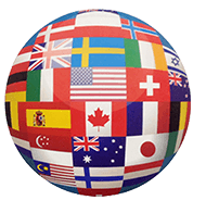 International Flag globe, Everyone Welcome